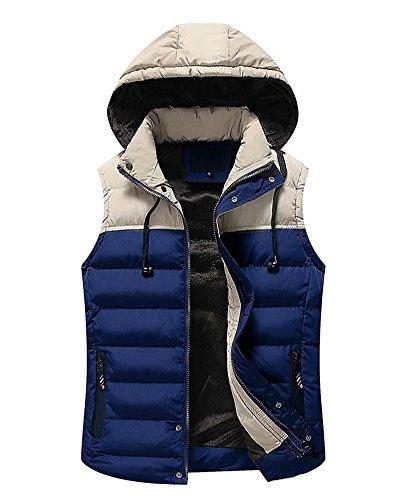 Gilet giacca senza maniche con cappuccio da uomo corto caldo imbottito cappotto blu zaffiro l