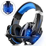 Gaming Headset Noise Cancelling Over Ear Headphones with Mic, LED Light Blue