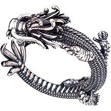 3eeb62a4ae64 Anillo meñique abierto dragón chino plata de ley 925 negra vendimia para  hombre mujer ajustable