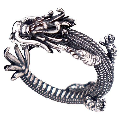 Anillo meñique abierto dragón chino plata de ley 925 negra vendimia para hombre mujer ajustable