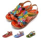 gracosy Sandalias de Mujer con cuña de Diapositivas Zapatos de Cuero Hechos a Mano de la Vendimia Zapatos Casual Merceditas Flor de Verano Plana Empalme de Zapatos al Aire Libre Bohemio Caminando
