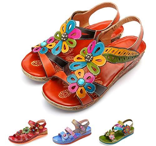 Gracosy sandali donna con zeppa scarpe vintage fatte a mano in pelle casual mary janes mocassini scarpe estive piatte fiori all'aperto bohemien camminando pantofole all'aperto