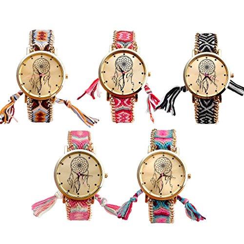JSDDE Uhren,Damen Ethnisch Dreamcatcher Traumfaenger Freundschaft Braid Armbanduhr gewebte Seil Band Quarzuhr,Orange+Schwarz - 6