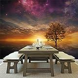azutura Lila Sterne Himmel Wandbild Baum Sonnenuntergang Foto-Tapete Schlafzimmer Haus Dekor Erhältlich in 8 Größen Extraklein Digital