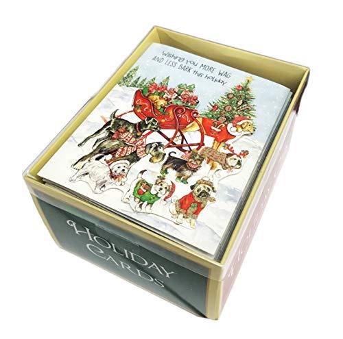 Weihnachtskarten mit passenden Umschlägen, Motiv: Wishing You More Wag & Less Bark this Holiday -