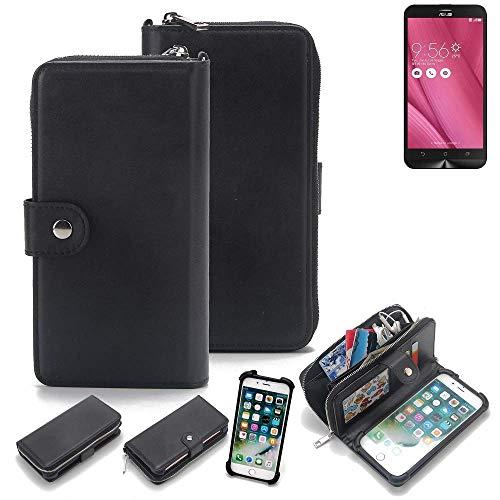 K-S-Trade 2in1 Handyhülle für Asus ZenFone Go TV Schutzhülle & Portemonnee Schutzhülle Tasche Handytasche Case Etui Geldbörse Wallet Bookstyle Hülle schwarz (1x)