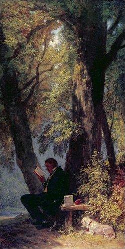 Poster 90 x 180 cm: Der Lieblingsplatz von Carl Spitzweg/ARTOTHEK - Hochwertiger Kunstdruck,...