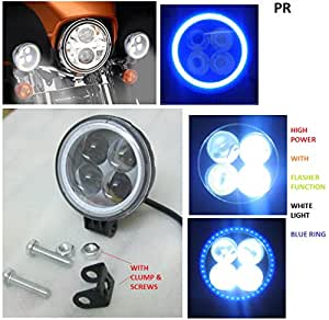 PR Fog Light 4 Led White Light with Blue Ring Bike Motorcycle 1Pc with For TVS Apache RTR 180 1 Pcs
