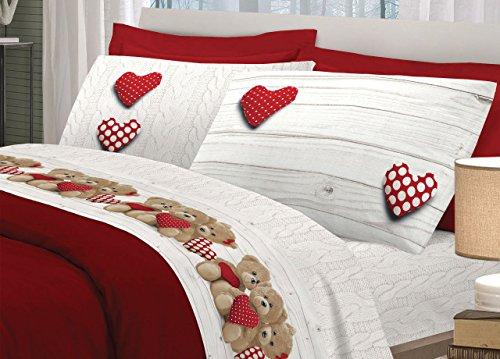 comprare on line BIANCHERIAWEB Completo Lenzuola In 100% Cotone Disegno New Orsetti Matrimoniale Rosso prezzo