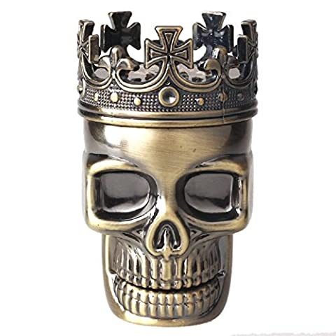 Tobacco Grinder, 3-Piece concasseur AMISON King Skull Metal Herb Tobacco