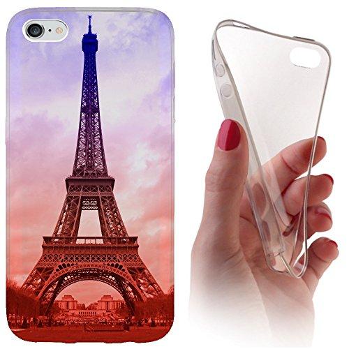 iPhone 6 / 6s Softcase Hülle Cover Backkover Softcase TPU Hülle Slim Case für Apple iPhone 6 / 6s (1089 Eifelturm Paris Frankreich Blau Braun)