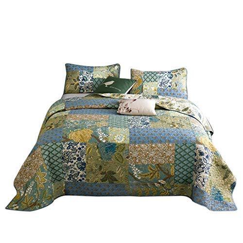 -Set, 3-teilig, Blumenmuster, 100% Baumwolle, für King-Size-Betten, Grün, Baumwolle, Noble Blue, Queen ()
