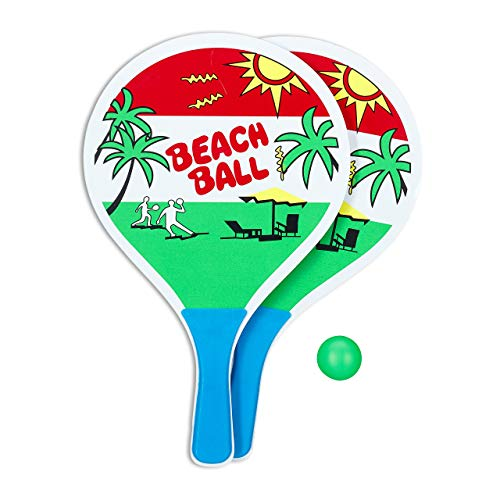 Relaxdays Beachball Set, 2 Holzschläger, Gummiball, Strandspielzeug, Ballspiel für Kinder ab 3 Jahren & Erwachsene, bunt
