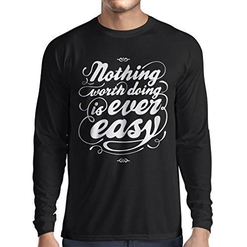Langarm Herren t shirts Motivationszitate für das Leben - Vintage Inspirational Lustige Sprüche (Medium Schwarz Mehrfarben) (Schwangerschafts-sportkleidung)