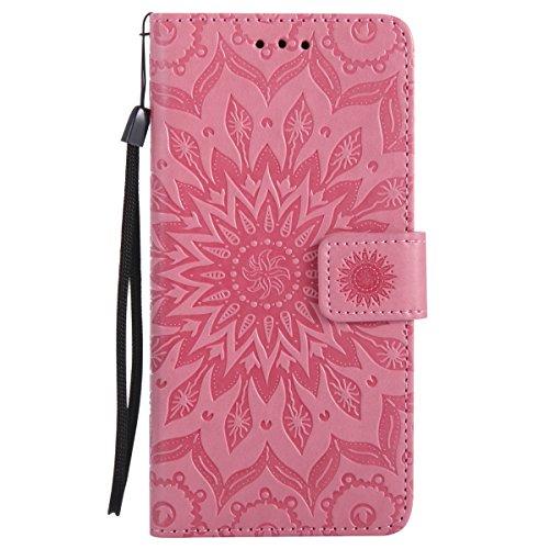 Uposao Handyhülle für Samsung Galaxy J7 Prime Leder Tasche Schutzhülle Brieftasche Handytasche Retro Vintage Henna Mandala Blumen Ledertasche Lederhülle Klapphülle Case Flip Cover,Rosa