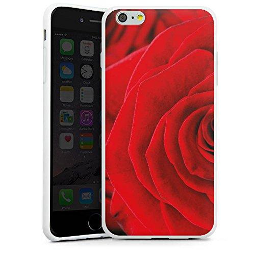 Apple iPhone X Silikon Hülle Case Schutzhülle Rot Rosen Blumen Silikon Case weiß
