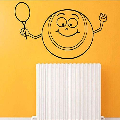 Sport Wandaufkleber Lächeln Tennisball Home Indoor Vinyl Aufkleber Aufkleber Kinder Kindergarten Baby Raumdekoration 87 * 58 Cm