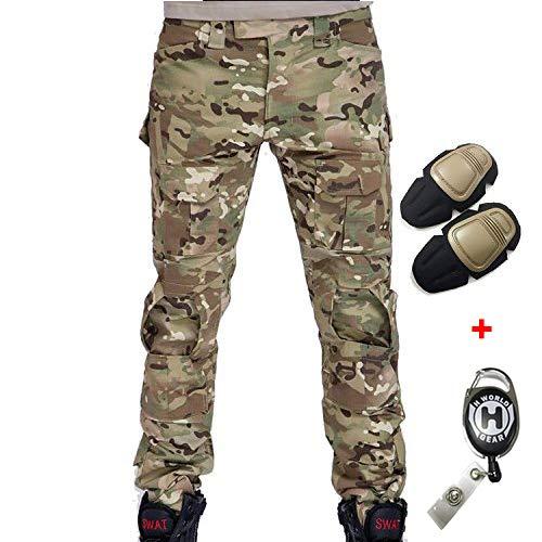 H Welt EU - Pantalones militares del ejército táctico, para airsoft o paintball, pantalones de lucha para hombre con rodilleras, color Multicámara, tamaño extra-large