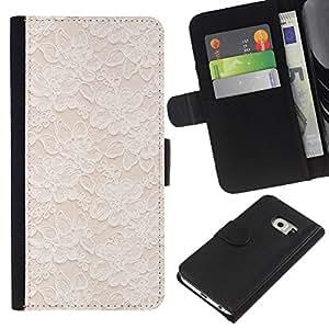 TaiTech / dHandy Schutz Wallet Leertasche Hülle Etui - White Spring Wallpaper Minimalist - Samsung Galaxy S6 EDGE