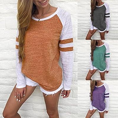 Damen Langarm T-Shirt Rundhals Ausschnitt Lose Bluse Hemd Pullover Oversize Sweatshirt Oberteil Tops von Amonfineshop_2586 auf Outdoor Shop