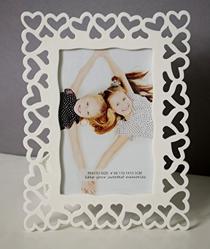White Heart Table Photo Frame - 4x6