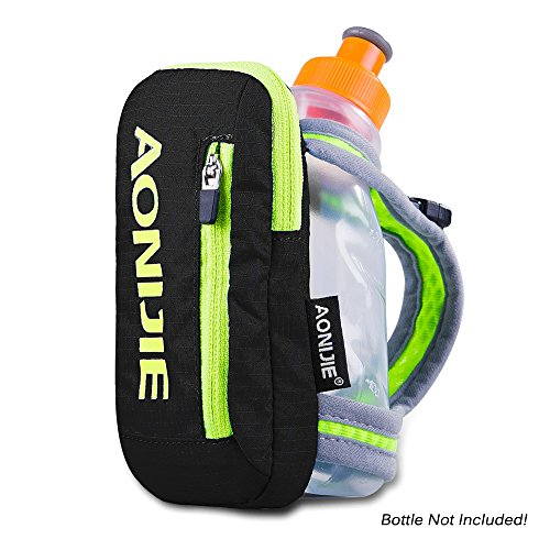 """AONIJIE Nylon """"Quick Grip Chill"""" Handheld Water Bottle Trinkflasche Trinkrucksack mit 250ML Trinkflasche Schwarz"""