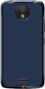 Nainz Shockproof Carbon Fiber Design Soft Tpu Back Case / Cover For Motorola Moto C Plus - Blue