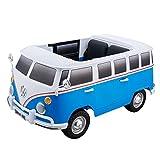 ES-TOYS Kinderfahrzeug - Elektro Auto VW Bulli - lizenziert - 12V7AH Akku und 2 Motoren- 2,4Ghz + MP3 + Ledersitz + 2 Sitzer(Blau)