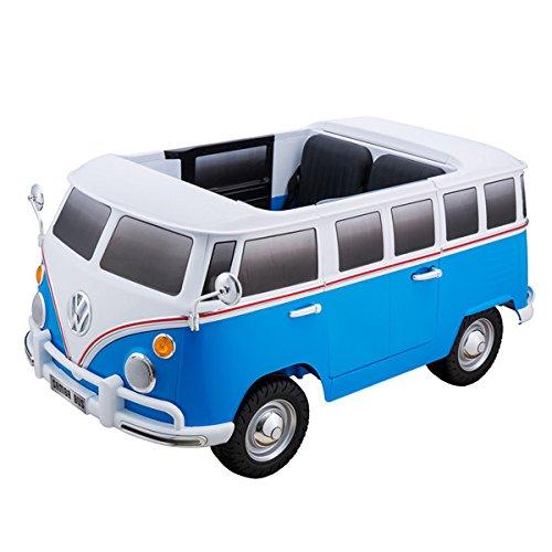 "Kinderfahrzeug - Elektro Auto ""VW Bulli"" - lizenziert - 12V7AH Akku und 2 Motoren- 2,4Ghz + MP3 + Ledersitz + 2 Sitzer(Blau)"
