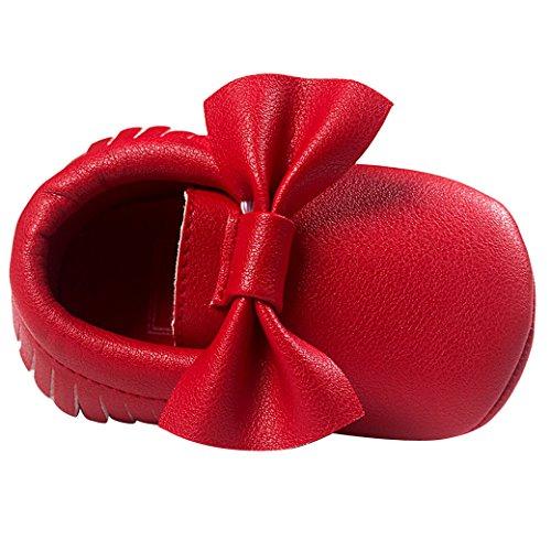 Felizes Sapatos De Bebê De Cereja Da Mola Walker Sapatos Sapatos De Outono Bebê Unissex Dentro Comprimento 11 Centímetros Macio Presente Exclusivo Da Criança Do Bebê Rastejando Sapatos Com Laço - Cor / Tamanho Selecionável Vermelho