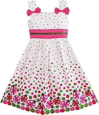 Sunny fashion vestito a pois bambina rosa for Amazon abbigliamento bambina