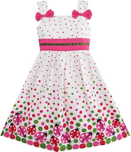 sunny-fashion-robe-fille-punaise-imprimer-colorful-point-6-ans