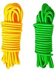 Gazechimp 2pcs 4mmx5m Sandow Corde Elastique Câbles Absorbant Chocs Corde D'amarrage Pour Remorque Bateau Vert+ Fluo Jaune