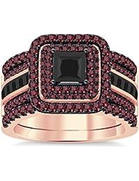 Silvernshine Enhancer Ring Guard & Engagement Ring Set Rose Gold Plated Red Garnet Sim Diamonds