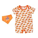 Allegorly Neugeborene Kinder Jungen Mädchen Baby Strampler Schlafanzug Baumwolle Overalls Hai drucken Säugling Spielanzug Nachtwäsche Jumpsuit+Speicheltuch Outfits Set