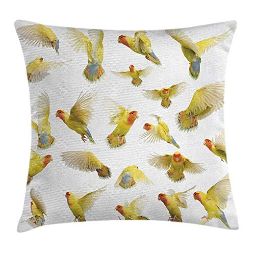 VYPHN Birds Throw Pillow Cushion Cover, Collection of Flying Rosy Peach Faced Love Birds Wild Life Colored Feathers Wings, Decorative Square Accent Pillow Case, 18 X 18 inches, Multicolor (Neon 16 Sweet)