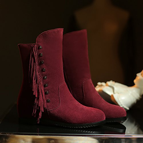 Hexiajia - Bottes Femme Rouge