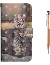 Grandoin Galaxy S9 Case, [Colorful Cartoon Pattern Design Series] Premium PU Leather Magnetic Flip Cover with Card Slots Holders Bookstyle Wallet Case For Samsung Galaxy S9 (Cat And Tiger)
