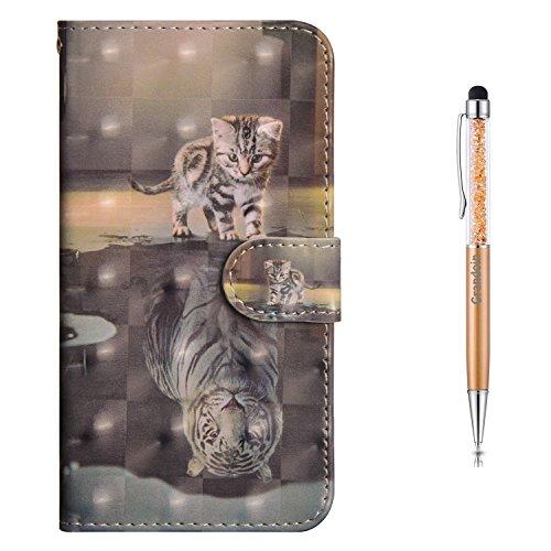 Grandoin iPhone 5 /5S /SE Hülle, Handyhülle im Brieftasche-Stil für Apple iPhone 5 /5S /SE Handytasche PU Leder Flip Cover 3D Bunte Muster Book Case Schutzhülle(Katze und Tiger) Stil Design Iphone