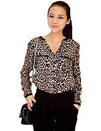 3e2ca598b82c77 Demarkt New Fashion Stylish Women s Tops Lapel Leopard Print Button Round  Neck Shirt Chiffon Long Sleeve
