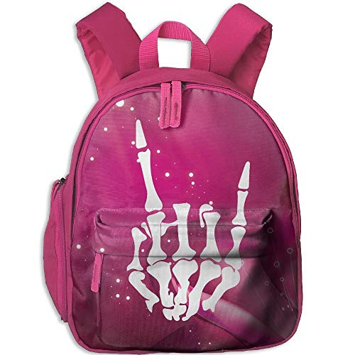 Rock and Roll Skeleton Kid\'s Mini Backpack Shoulder Schoolbag with Front Pockets