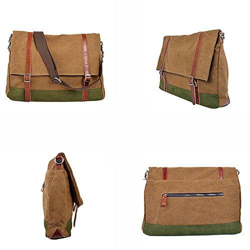 Paonies Männer Canvas Handtasche Schultertasche Messenger Bag Umhängetasche Reisetasche (Grün) Kaffeebraun