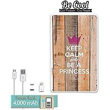 Becool® - Batería Externa Power Bank 4000 mah + Gratis 1 cable USB-MicroUsb (Android) y adaptador lightning (Apple). Keep Calm and Be a Princess