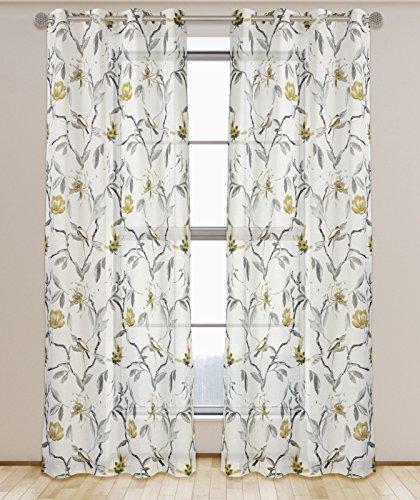 LJ Home Fashions Andi Floral Semi Sheer Voile Öse/Ring Top Ösen Vorhang Paar, Polyester, Weiß/Grau/Schwarz/Ecru, 137x 241cm, Set von 2 -