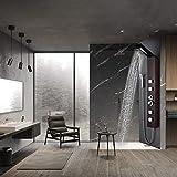 WENHAUS Glass Duschpaneel Duschsäule 3 Duschfunktionen Mit Regenduschkopf 4 Massagejets Und Handbrause, Dunkele Holzaserung (600017)