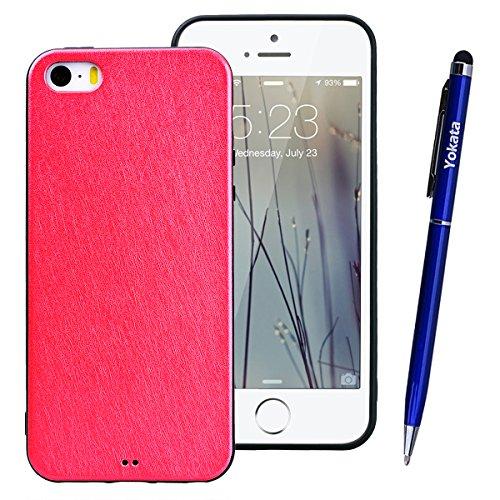 Yokata Cover per iPhone 6S / 6 Custodia Soft Gel Silicone Molle di Flessibile TPU Morbido Case Protezione Backcover Caso Gomma Bumper Protettiva Shell + Penna - Nero Rosso