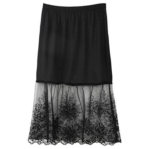 Longsw Spitzenrock Spitze Halb Slip Röcke Extender Elastische Taille A-Linie Hohle Petticoat Unterrock (Schwarz) -