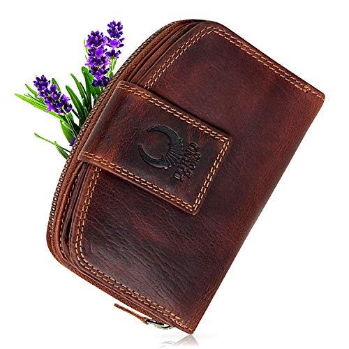 Geldbörse Damen Leder mit TÜV-zertifizierter RFID Schutz I Vintage Portemonnaie braun mit Reißverschluss in Geschenkbox Corno d´Oro CD23007 - Travel Wallet Clutch