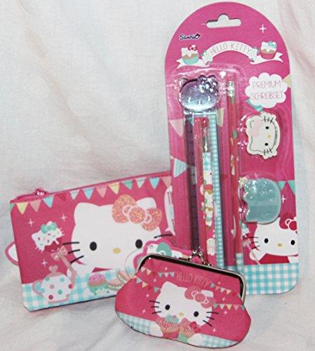 110028 Hello Kitty Tea Party Geschenk Set für Mädchen von 5 - 12 Jahre, Geldbörse, Schlampermappe und Schreibset (Hello Tea Kitty Party)
