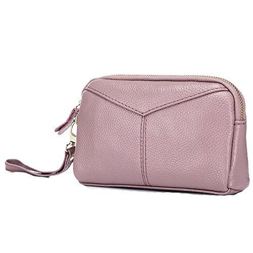 Damen Leder Rosa Luxus Reißverschluss Geldbörs Telefon Halter Brieftasche Kupplung mit Handschlaufe Handtaschen Liz Claiborne